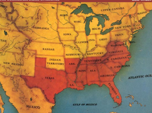 Map Of Confederate States Of America