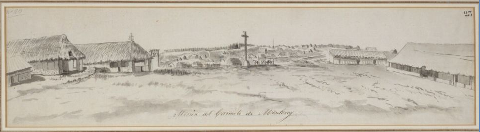 Sketch of Mission Carmel in Monterey in 1791