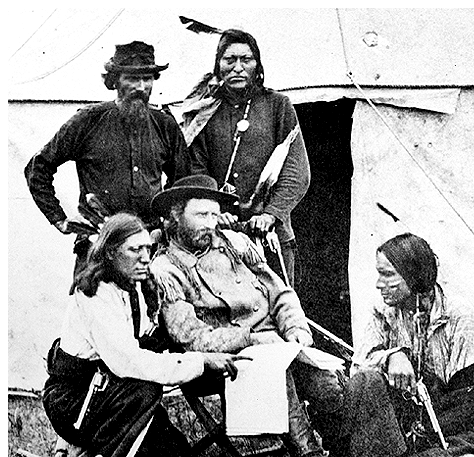 Photograph of Custer posing with his Indian Scouts during the Black Hills expedition in 1874