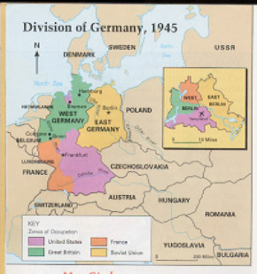 additionally berlin which was within the soviet occupation zone was divided among the allies as shown in the map to the right