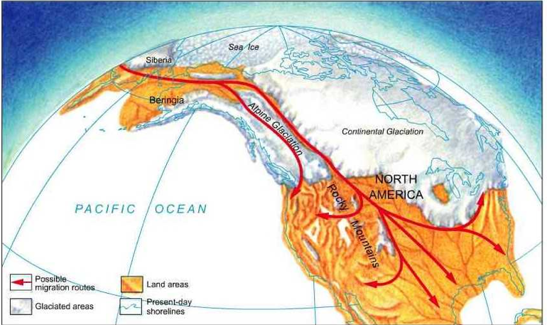 Map of Land Bridge Migration Theory