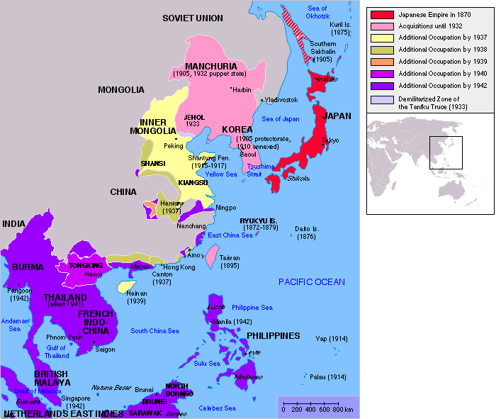 the japanese empire from map of japanese empire in 1930s