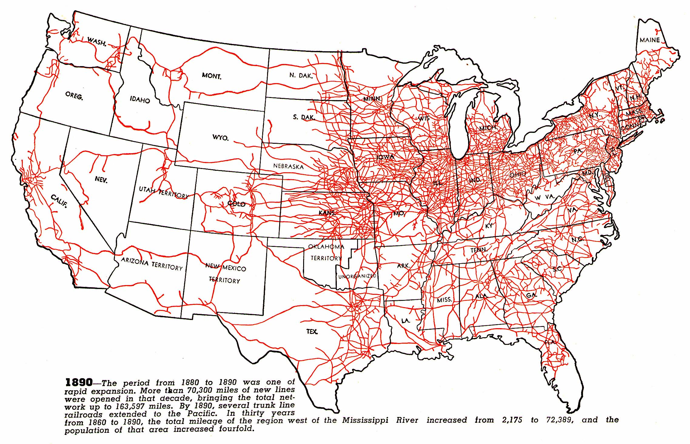 Map railroads 1890