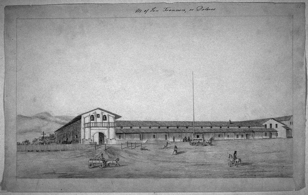 Sketch of Mission Delores in 1842