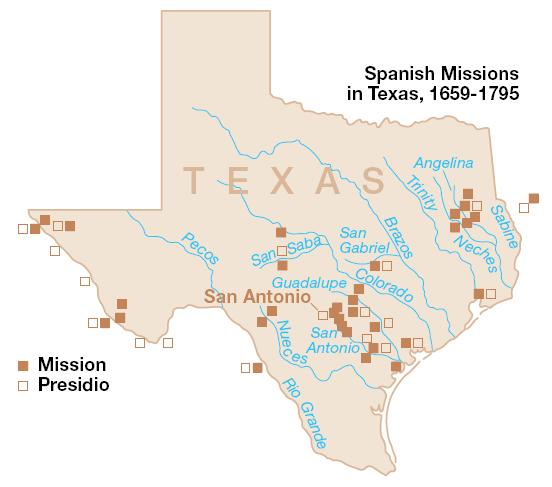 By the 1750s, strings of presidios, pueblos, ranchos, and missions ...