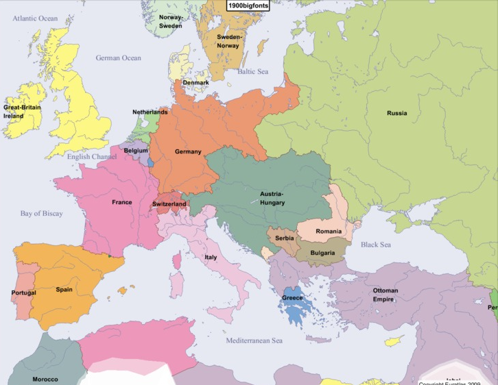 Map of Europe 1900
