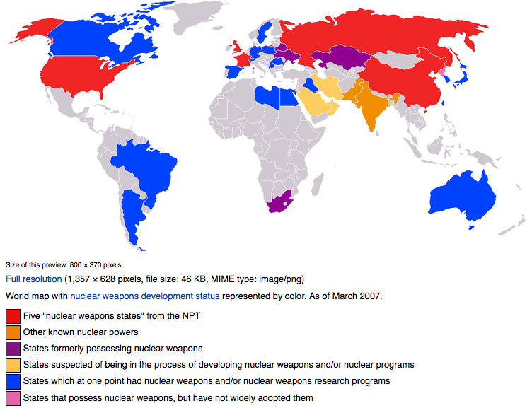 map of countries with nuclear capacity