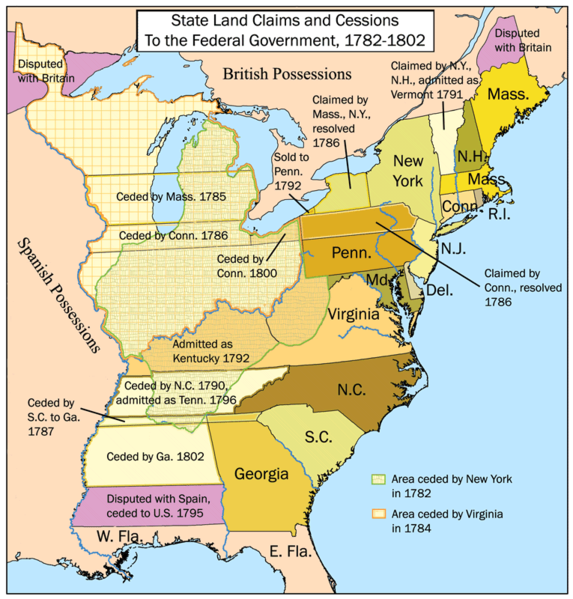 Map of State Land Cessions under Articles of Confederation