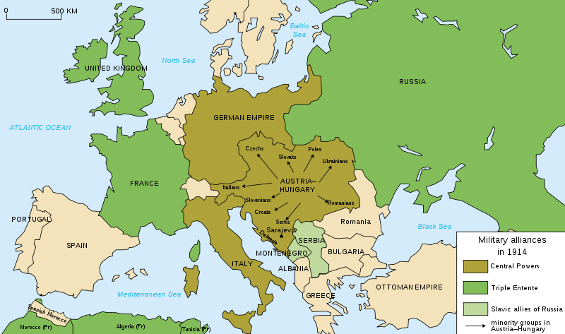 Map  of European alliances on eve of WWI