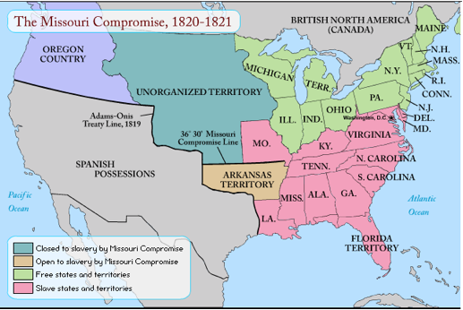 The American Revolution to the Civil War timeline ... |United States Missouri Compromise