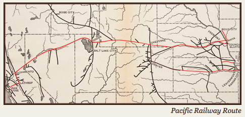 Map of northern route of Transcontinental Railroad