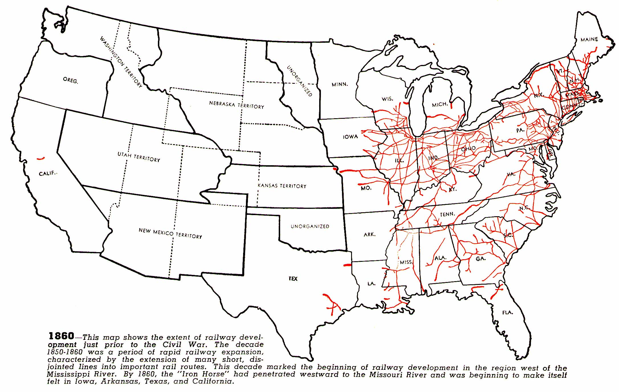 Histindustrialization - Map of us rail network
