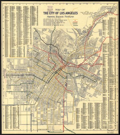 Map Of Red Car Lines In Los Angeles In 1906