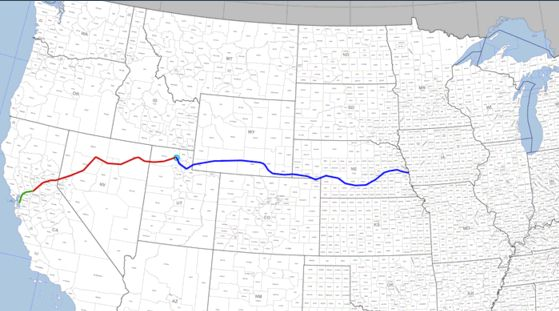 Map of Central Pacific and Union Pacific Railroads as they work to create the Transcontinental Railroad in the 1860s.
