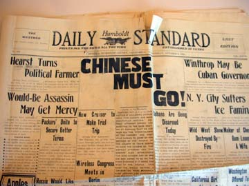 "Photo of cover of Humboldt Daily Standard newspaper in 1906 declaring ""Chinese Must Go."""
