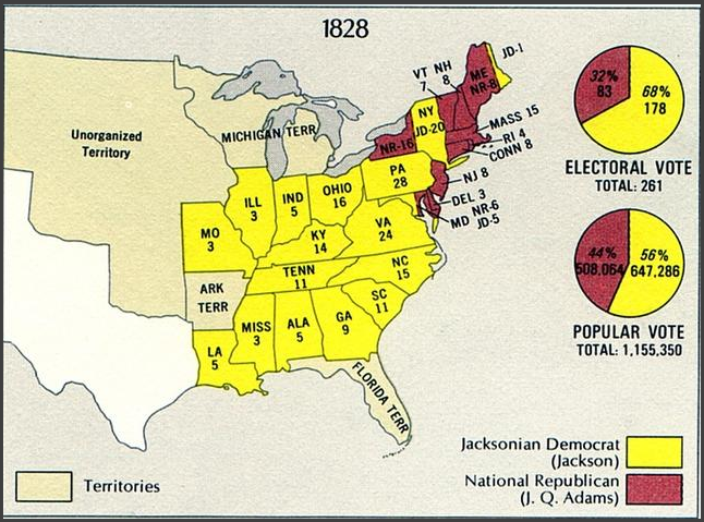 map of 1824 presidential election map of 1828 presidential election