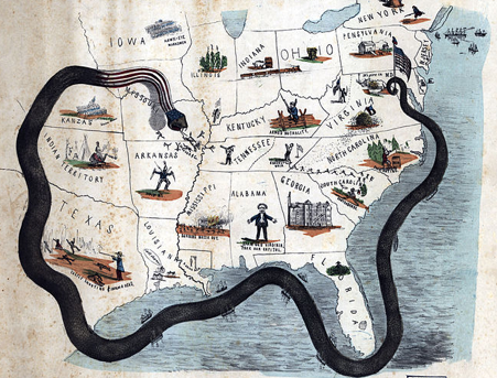 Cartoon map of Civil War naval blockade