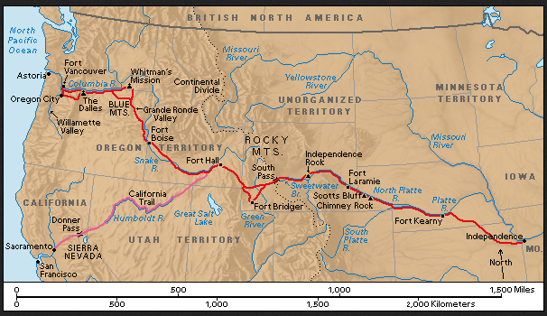 Map Of California And Oregon Trails