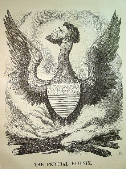 "Political Cartoon of Lincoln as ""The Federal Phoenix"""