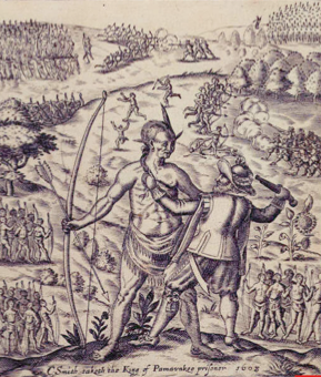 The colonists what they created jamestown becomes the royal colony 1624 sketch of john smith taking an indian chief hostage publicscrutiny Images