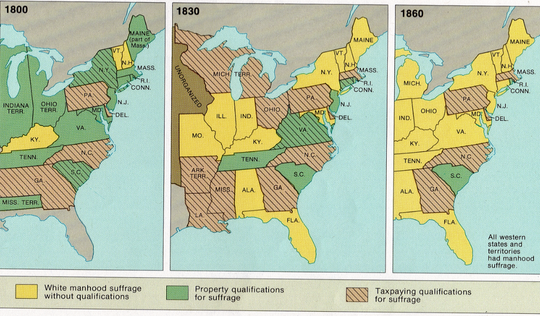 map of manhood suffrage 1800 1840 1860 compared