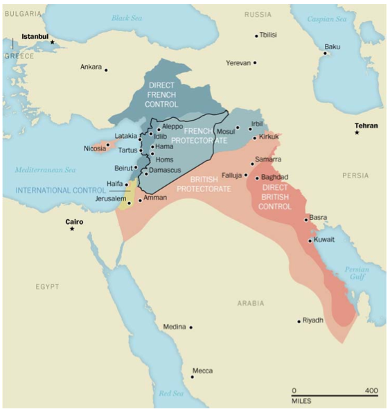Map of the way the Ottoman Empire was carved up by France, Britain, and Russia after WWI