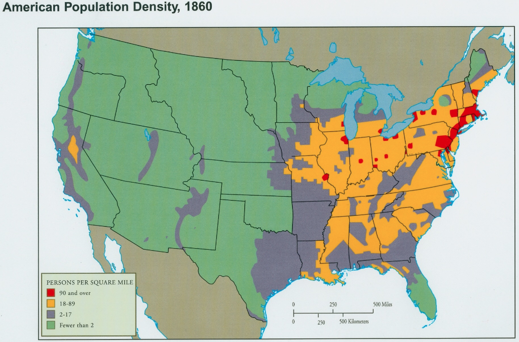 map u s population density 1820 map of u s population density in 1860