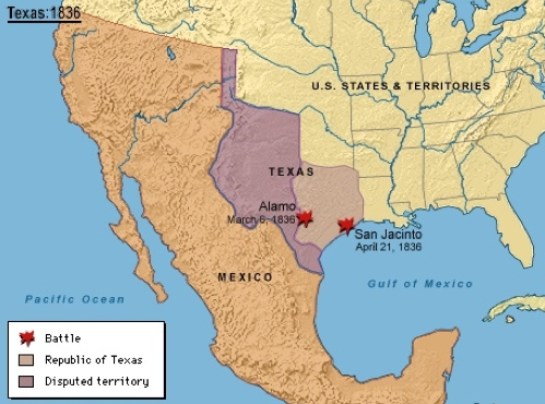 Map Of Texas During The Alamo.Mexico Manifest Destiny