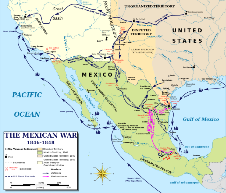 Mexico - Manifest Destiny on europe map 1848, united states presidential election 1848, united states of america, california map 1848, united states in 1846, mexican cession map 1848, united states elevation, us history map 1848, united states borders before 1848,