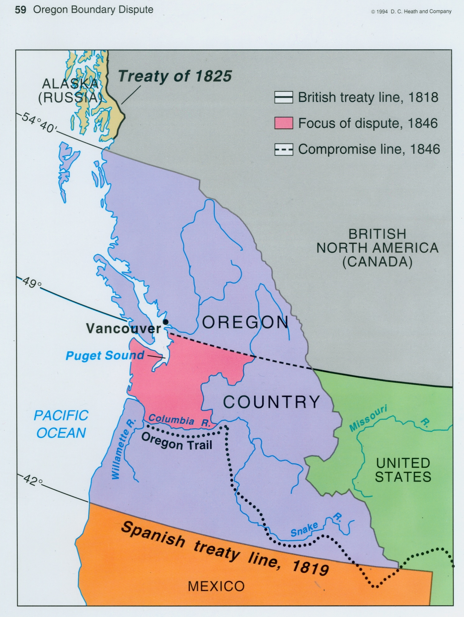 map of oregon boundary dispute between u s and britain