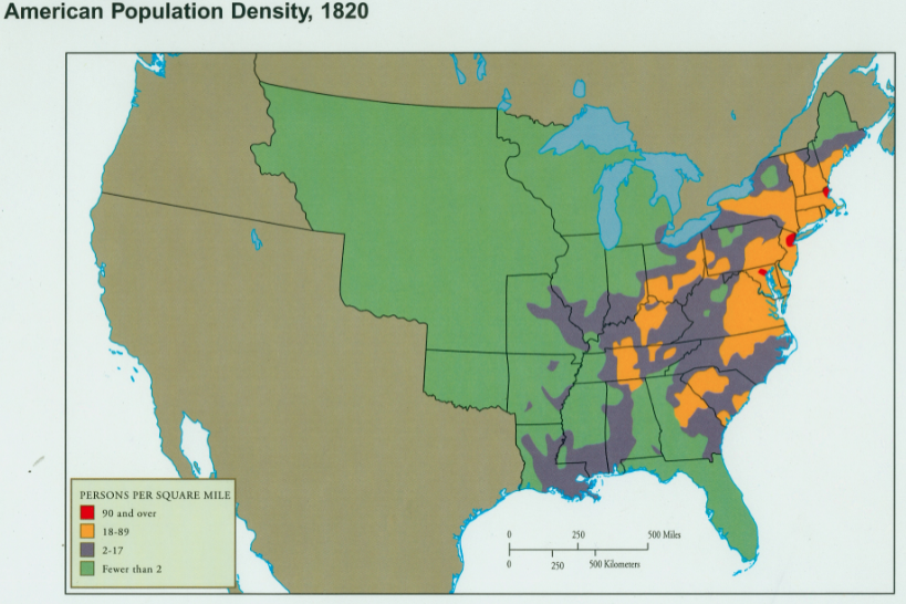 Geography Manifest Destiny - Blank us map 1820