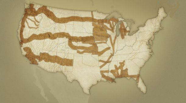 Map of federal land grants to railroads