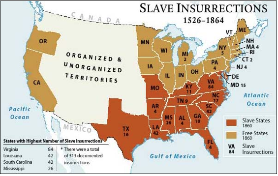 map of slave rebellions in us