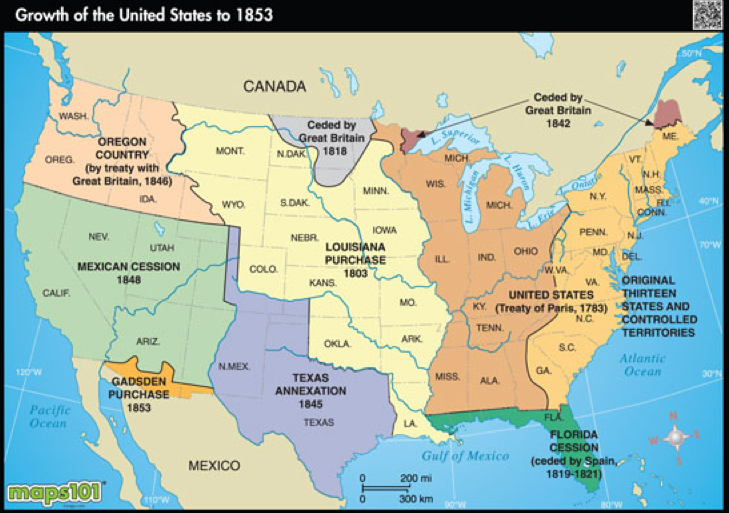 Geography Manifest Destiny - Area map of us 1845