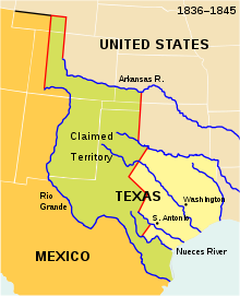 republic of texas disputed territories map