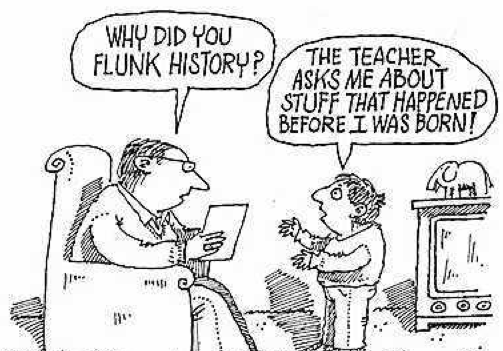 Cartoon of student telling father he flunked history