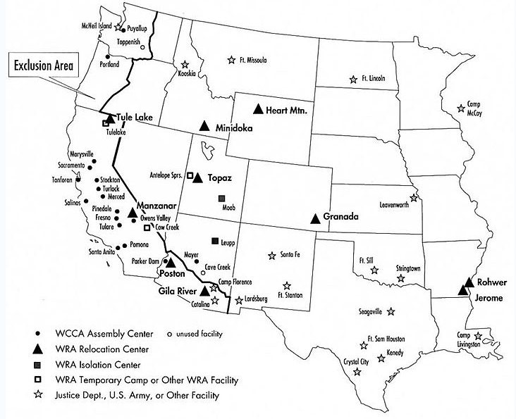 UnitWWIIhtml - Map of italian internment camps in us