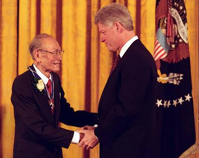 Fred Korematsu receives the Presidential Medal of Freedom from President Bill Clinton on January 15, 1998.