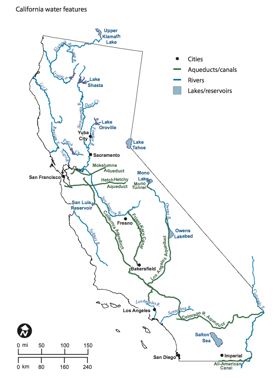 California Water - Rivers in southern ca us map