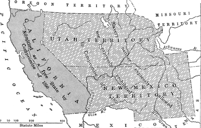The Debate Map Of Larger Proposed State Of California In 1850