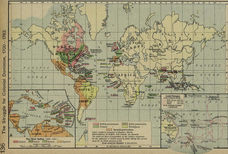 Map of world colonies 1700s