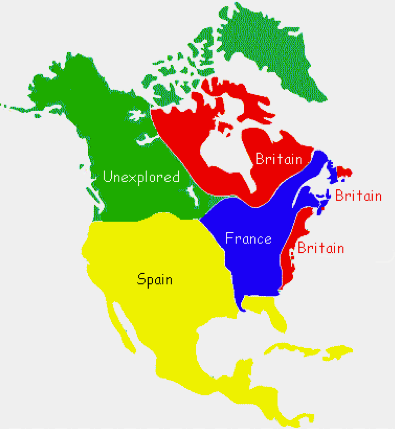 map of European claims in North America