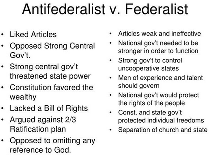an introduction to the comparison of federalist and anti federalist Anti-federalists essay introduction the federalist papers present a series of the anti-war and hippie movements a comparison of us bill of rights and the.