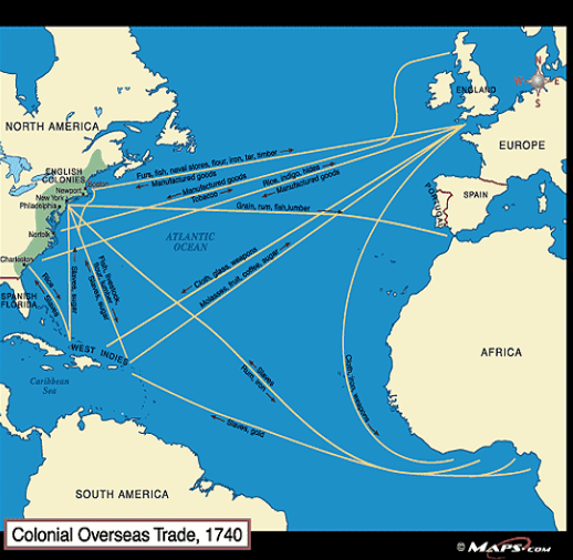 map of global trade in colonies