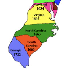 map of southern colonies