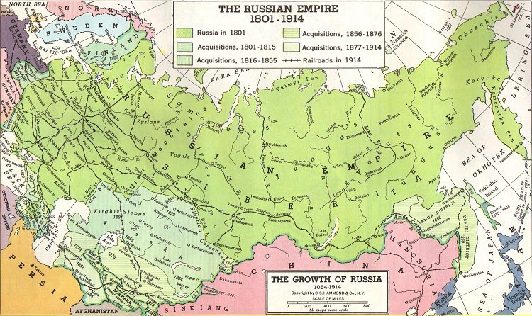 map of russian expansion 1800 1900